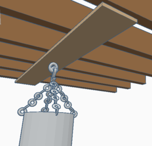 hanging a heavy bag on a beam